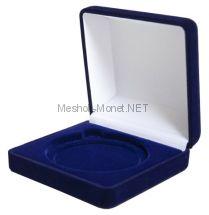 Футляр для одной монеты в капсуле диаметром 74мм, темно-синий.