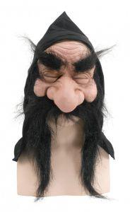 Маска гнома с капюшоном и бородой черной
