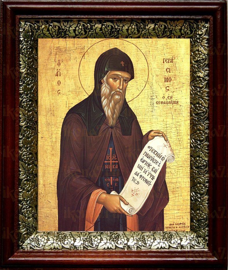 Герасим Кефалонийский (19х22), темный киот