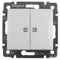Выключатель двухклавишный с индикацией, 10A Legrand Valena (Белый)