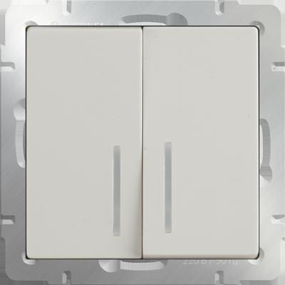 Выключатель WERKEL 2кл.с инд.сл.к.WL03-SW-2G-LED