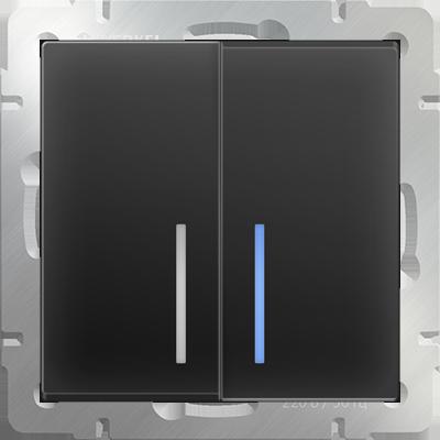Выключатель WERKEL 2кл. с инд.WL08-SW-2G-LED черн.