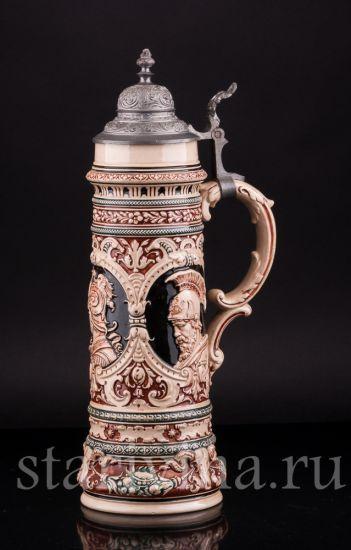 Антикварная старинная Пивная кружка Ахиллес, 1 1/2 л производства Simon Pete Gerz, Германия, кон.19 в.