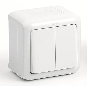 Выключатель двухклавишный IP44, 10A Legrand Quteo (Белый)