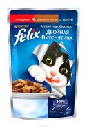 Felix  Двойная вкуснятина Говядина и домашняя птица в желе (85 г)