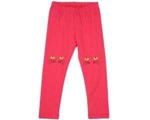 Малиновые легинсы для девочки с мордочками кошек Мини Макси