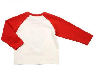 Молочный лонгслив с красными рукавами на мальчика