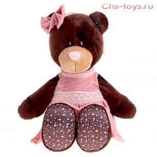 Медведь Milk сидячая в розовом бархатном платье 50 см, арт. М5043/50