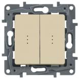 Выключатель/переключатель двухклавишный на два направления с подсветкой, 10A Legrand Etika (Сл. Кость)