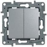 Выключатель/переключатель на два направления двухклавишный, 10A Legrand Etika (Алюминий)