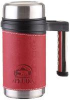 Термокружка с кожаной вставкой Арктика 406 серии красная