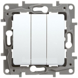Выключатель трехклавишный, 10A Legrand Etika (Белый)