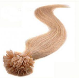 Натуральные волосы на кератиновой капсуле U-тип, №027 Клубничный блонд - 55 см, 100 капсул.