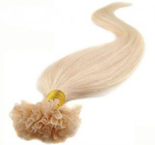 Натуральные волосы на кератиновой капсуле U-тип, №060 Платиновый блонд - 50 см, 100 капсул.