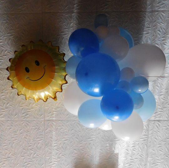 Облако и солнце с гелием