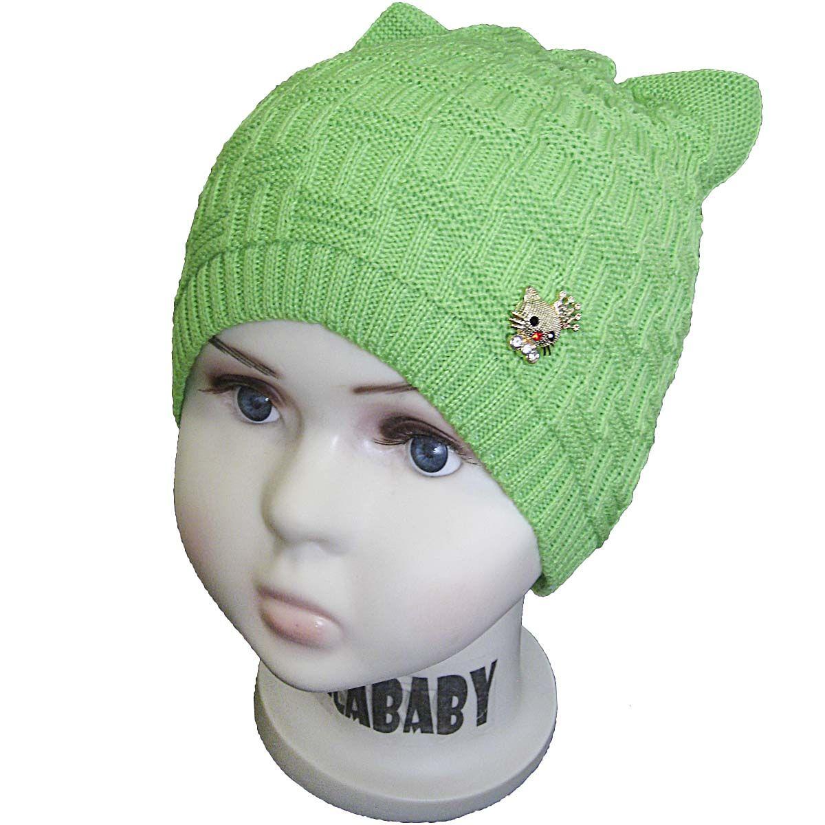 вд1075-17 Шапка рельефной вязки плетенка с украшением зеленая