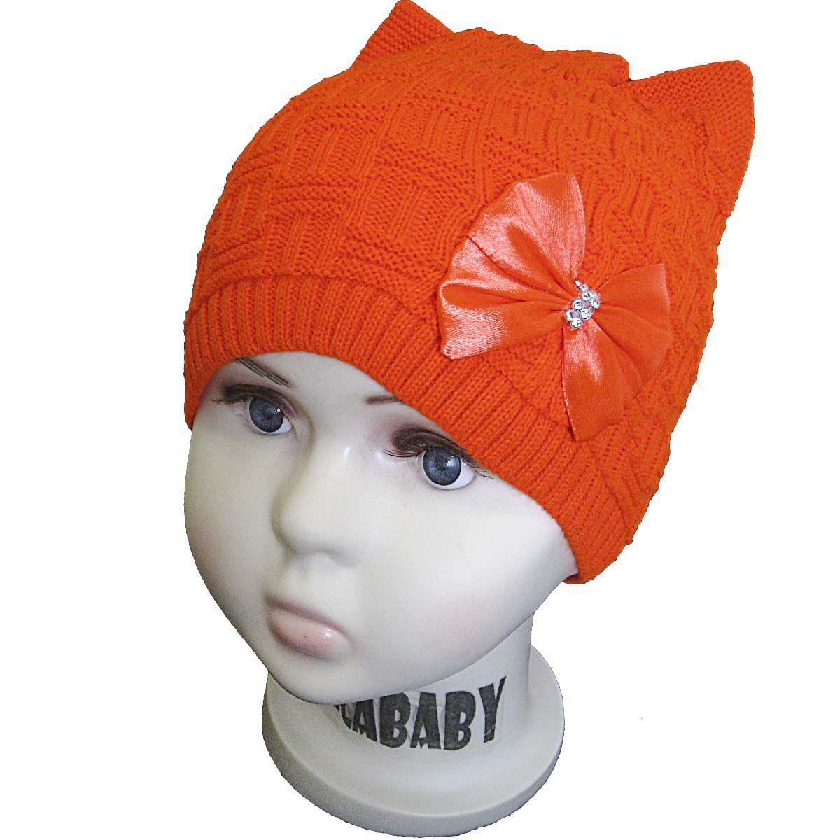 вд1075-38 Шапка рельефной вязки плетенка с украшением неоново-морковная