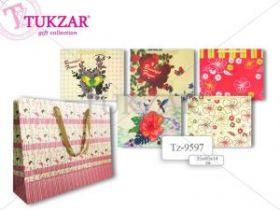 """Пакет подарочный бумажный """"Райские цветы"""" 35x45x14см (арт. Tz-9597) (12839)"""