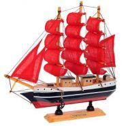 """Корабль """"Сonfection"""", L23,5 W5 H23,5 см (с алыми парусами) (арт. 672988) (12665)"""