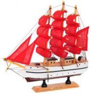 """Корабль """"Сonfection"""", L23,5 W5 H23,5 см (с алыми парусами) (арт. 672989) (12666)"""