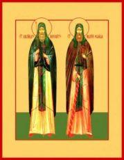 Икона Александр Пересвет и Андрей Ослябя (рукописная)