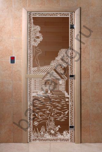 Дверь для бани DoorWood Банька в лесу Бронза