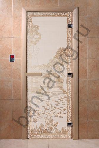 Дверь для бани DoorWood Банька в лесу Сатин