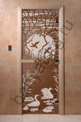Дверь для бани DoorWood Лебединое озеро Бронза