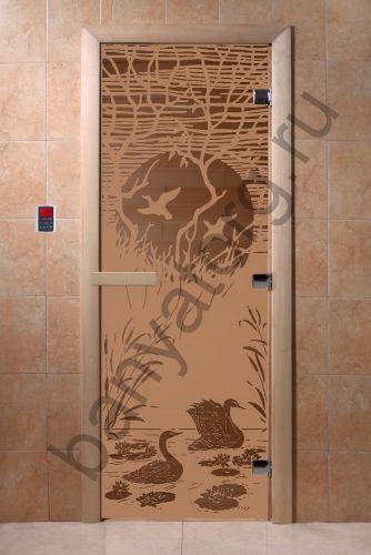 Дверь для бани DoorWood Лебединое озеро Бронза матовая