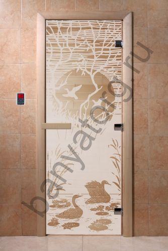 Дверь для бани DoorWood Лебединое озеро Сатин
