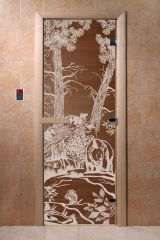 Дверь для бани DoorWood Мишки в лесу Бронза