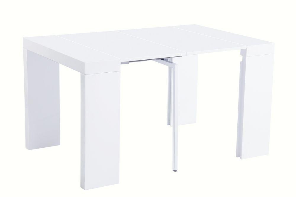 Стол консоль-трансформер N-110 белый лак глянец