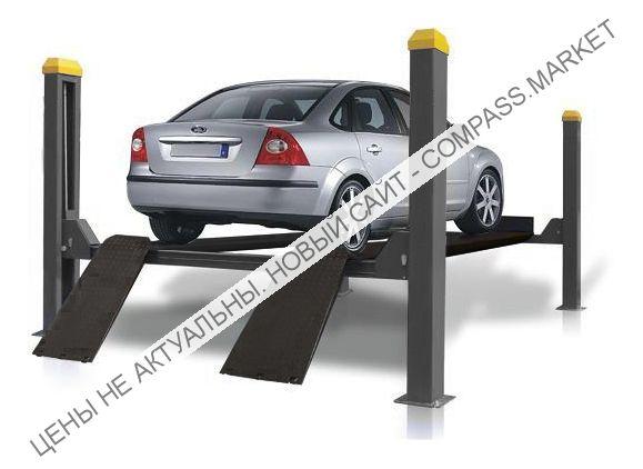 Подъемник четырехстоечный г/п 4000 кг. платформы гладкие, KraftWell