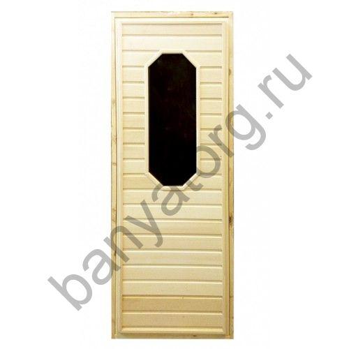 Дверь для бани липа с восьмиугольным стеклом