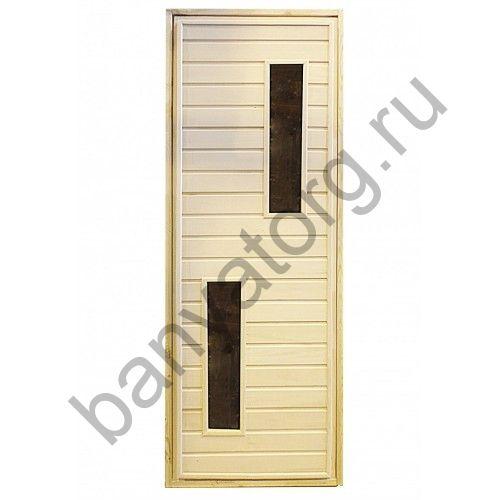 Дверь для бани липа с двумя прямыми стеклами