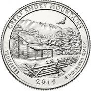 2014 21 нац парк США 25 центов Great Smoky