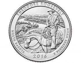 Национальный парк Теодора Рузвельта(Северная Дакота) 25 центов США 2016 монетный двор на выбор