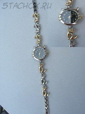 """Часы женские """"Кошка"""" золото+серебро черные (на браслете)"""