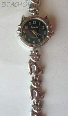 """Часы женские """"Кошка"""" серебро черные (на браслете)"""