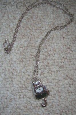 """Часы женские кулон с цепочкой """"Кошка"""" под серебро"""