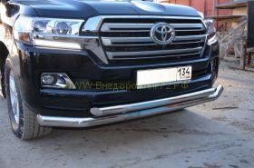 Защита переднего бампера  76/60мм  для Toyota Land Cruiser 200 2015 -