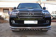 Защита переднего бампера  76/60/42мм  для Toyota Land Cruiser 200 2015 -