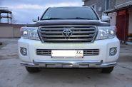 Защита переднего бампера 76/76 мм для Toyota Land Cruiser 200 2012