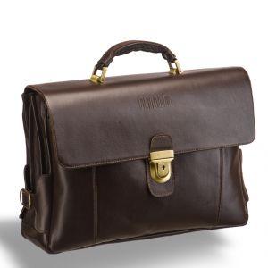 Объемный деловой портфель с 3-мя отделениями BRIALDI Bolivar (Боливар) brown