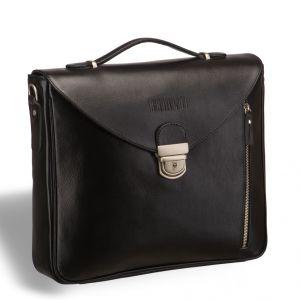 Вертикальный деловой портфель BRIALDI Planck (Планк) black