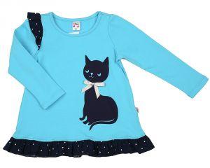 Платье для девочки голубое с кошкой Мини Макси
