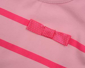 Розовая блузка в полоску с бантиком на девочку