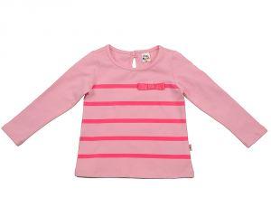 Розовая блузка для девочки в полоску Мини Макси