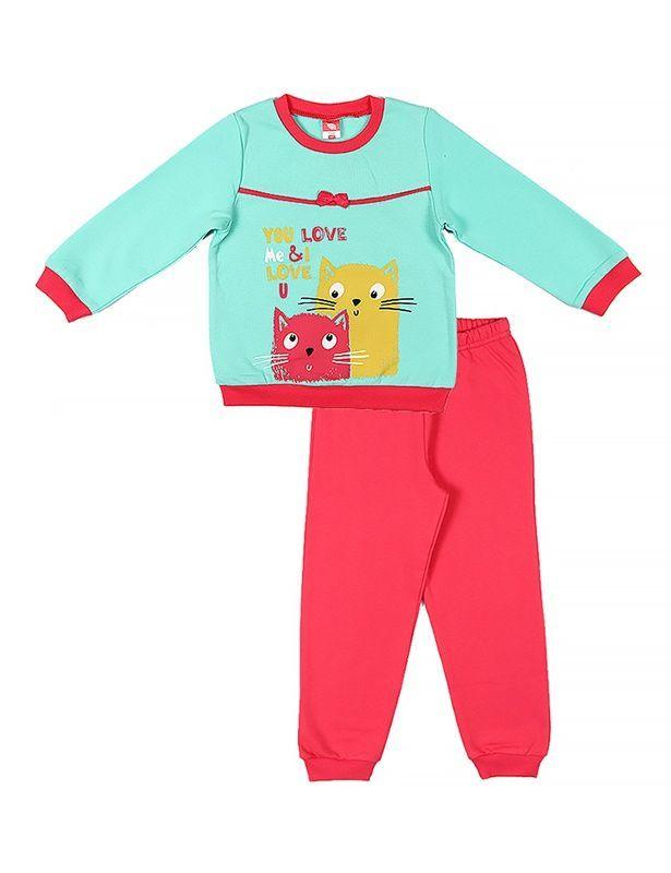 e4f05e372637 Яркая теплая пижама для девочки из трикотажа с начесом бирюзово ...