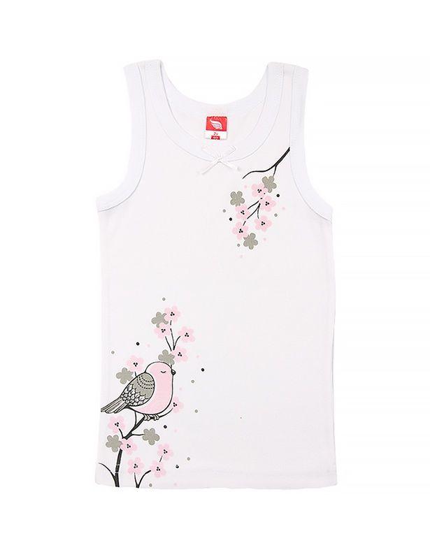 Белая майка для девочки Цветы сакуры
